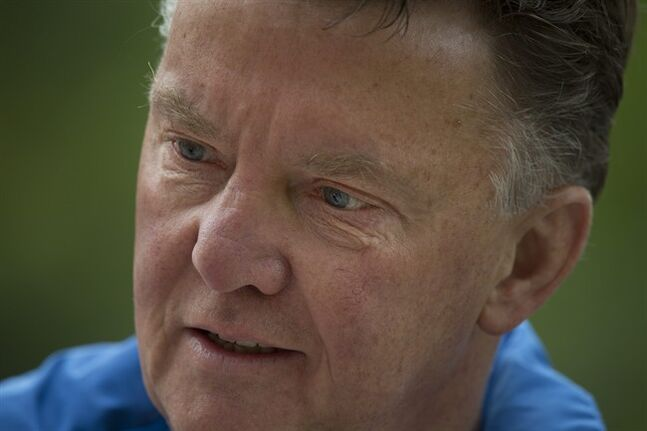 Louis van Gaal, coach of the Dutch national soccer team, talks after a training in Hoenderloo, eastern Netherlands, Thursday, May 15, 2014. The 62-year-old coach, who is widely expected to be the manager of Manchester United next season, has been experimenting in recent days with a new formation which he says may sound more defensive, but will be executed according to the