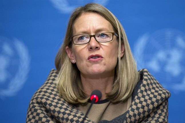 Jasmine Whitbread, Chief Executive Officer of Save the Children, informs to media about the humanitarian strategies and requirements 2014 including Syria and the region, during a press conference at the European headquarters of the United Nations, in Geneva, Switzerland, Monday, Dec. 16, 2013. (AP Photo/Keystone,Salvatore Di Nolfi)
