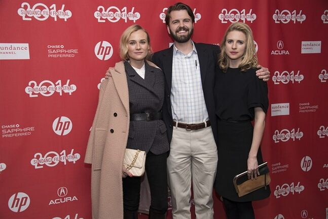 Actress Diane Kruger, Director/Writer A.J. Edwards and Actress Brit Marling pose for a picture at the premiere for the film