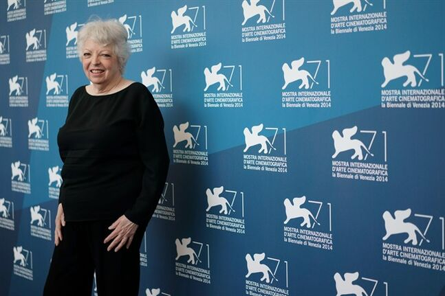 Film editor Thelma Schoonmaker pose during a photo call at the 71st edition of the Venice Film Festival in Venice, Italy, Tuesday, Sept. 2, 2014. (AP Photo/Andrew Medichini)