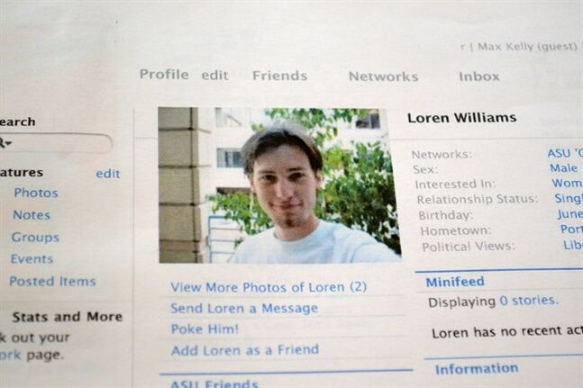 FILE - This Feb. 16, 2013 file photo shows a printout of the Facebook page for Loren Williams, now deceased, at the Beaverton, Ore. home of his mother, Karen Williams. Williams sued Facebook for access to Loren's account after he died in a 2005 motorcycle accident at the age of 22. The Uniform Law Commission on Wednesday, July 16, 2014 was expected to endorse a plan to automatically give loved ones access to — but not control of — all digital accounts, unless otherwise specified. (AP Photo/Lauren Gambino, File)