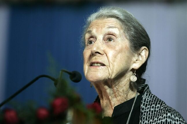 FILE - In this Monday, Nov. 10, 2008 file photo South African writer and Nobel Literature laureate Nadine Gordimer, delivers a speech titled