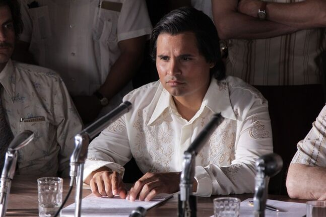 FILE - In this undated file photo released by Pantelion Films shows Michael Pena as Cesar Chavez in a scene from