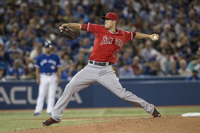 Los Angeles Angels pitcher Tyler Skaggs works against the Toronto Blue Jays during third inning American League baseball action in Toronto on Saturday, May 10, 2014. THE CANADIAN PRESS/Chris Young