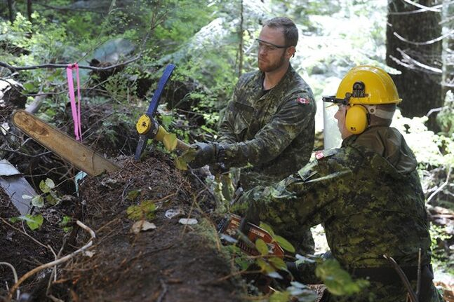 Clearance Diver and Explosives Ordinance Disposal (EOD) technicians Master Seaman (MS) Kenneth Jones and Petty Officer 2nd class (PO2) Shawn Goodine use a chain saw and pick to remove a large downed tree at the site of the Avro Anson aircraft crash on May 6, 2014. THE CANADIAN PRESS/DND, Cpl Brandon O'Connell