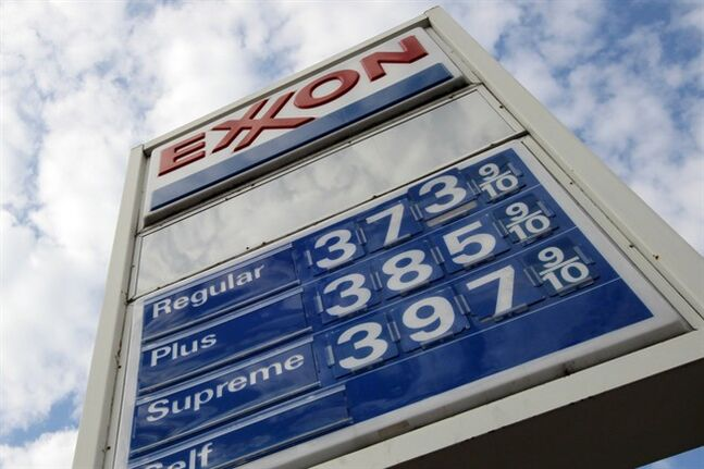 This Feb. 27, 2012 photo shows gas prices at a Pittsburgh Exxon mini-mart. THE CANADIAN PRESS/AP, Gene J. Puskar