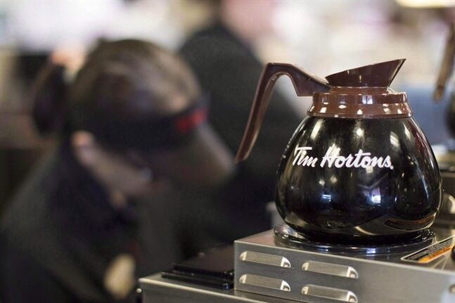 Freshly-brewed coffee sits on a hot plate in a Tim Hortons outlet in Oakville, Ont. on Sept.16, 2013. THE CANADIAN PRESS/Chris Young