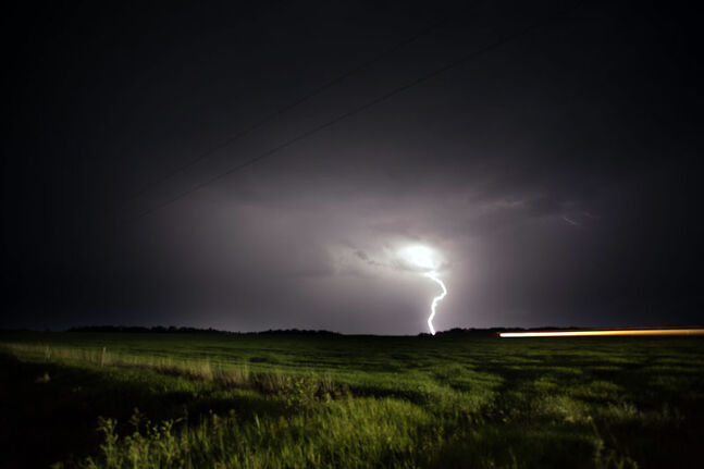 Lightning strikes just south of the Trans-Canada Highway, beside Grand Valley Provincial Park, in this file photo.