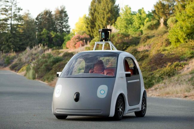 This image provided by Google shows a very early version of Google's prototype self-driving car. The two-seater won't be sold publicly, but Google said it hopes 100 prototypes will be on public roads by May 2015.