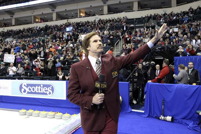 Actor Will Ferrell, in character as TV anchorman Ron Burgundy, during the opening ceremonies of the Roar of the Rings Sunday. Many in the crowd hadn't seen the movie Anchorman, but others were in on the joke.