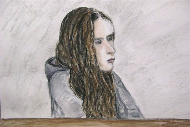 Meredith Borowiec appears in court in Calgary on March 26, 2013 in a court artist's sketch. THE CANADIAN PRESS/Janice Fletcher