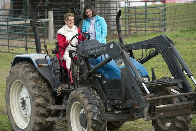 Ontario Premier Kathleen Wynne drives a tractor with instruction from farmer Sandra Vos (right) at a campaign event in Paris, Ontario on Tuesday May 20, 2014, 2014. THE CANADIAN PRESS/Frank Gunn