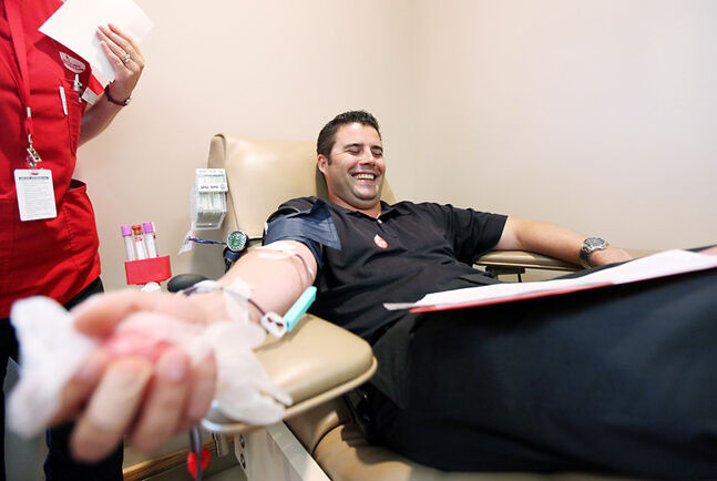 Gord Pinkos donates blood at the Brandon Blood Donor Clinic during a blood drive in this file photo.