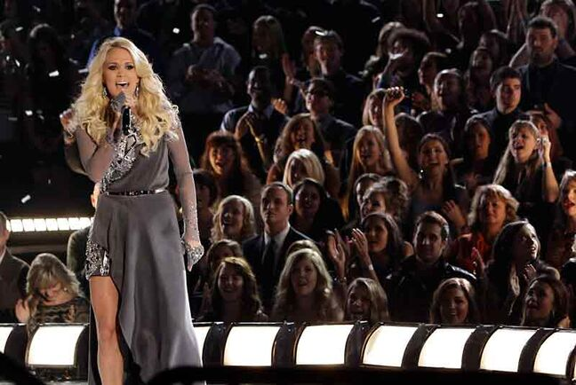 Carrie Underwood performs onstage at the 46th Annual Country Music Awards at the Bridgestone Arena in Nashville earlier this month.