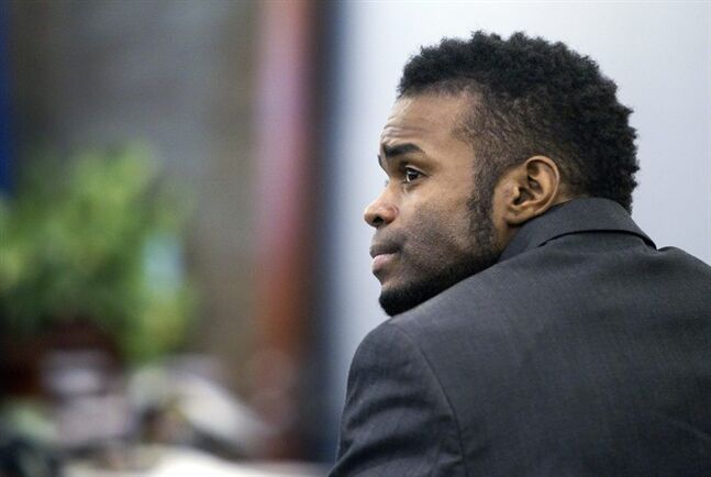Defendant Jason Omar Griffith is shown during a break in his trial at the Regional Justice Center in Las Vegas Wednesday, May 14, 2014. Griffith is accused of murdering Luxor
