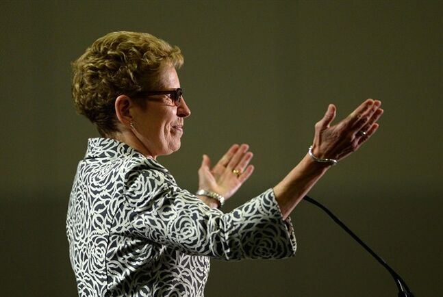 Ontario Liberal leader Kathleen Wynne gestures during a speech in Ottawa on Thursday, May 8, 2014. THE CANADIAN PRESS/Sean Kilpatrick