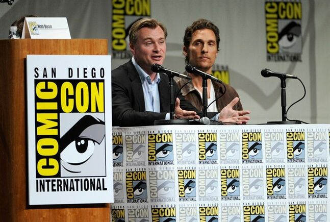 Director Christopher Nolan, left, and actor Matthew McConaughey attend the