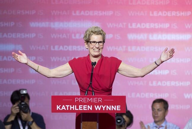 Ontario Liberal leader Kathleen Wynne speaks to supporters after winning the Ontario election in Toronto on Thursday June 12, 2014. THE CANADIAN PRESS/Frank Gunn