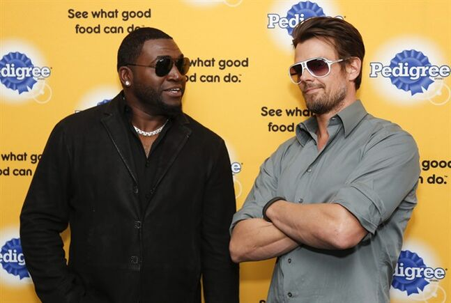 Actor Josh Duhamel, right, borrows someone's sunglasses to jokingly match Boston Red Sox baseball player David Ortiz, left, as they help launch Pedigree Brand's