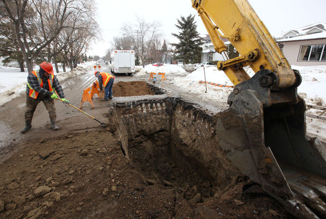 Workers with the City of Brandon at the scene of a water main break on 22nd Street, south of Ottawa Avenue in Brandon a couple of years ago. That's in an area built after 1950 — now known as the Green Zone — where poisonous lead services to home from the water main weren't used.