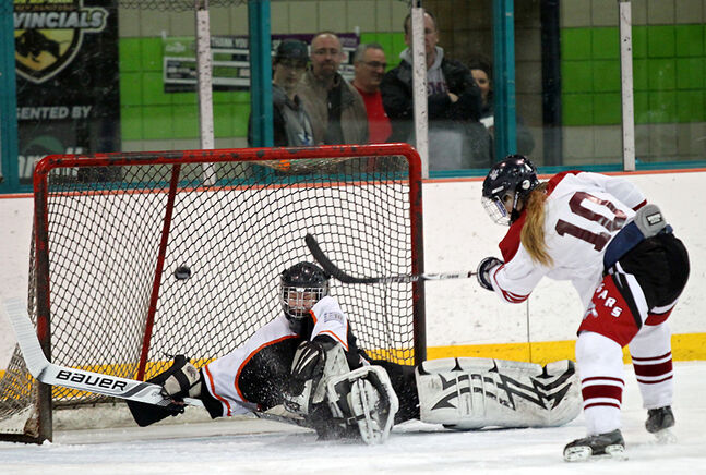 Laura Williams of the Assiniboine Community College Cougars fires the puck past netminder Lauren Cunningham of the Aces during the opening game of the Provincial Senior B Women's Hockey Championship at the Kinsmen Arena on Friday evening. The Cougars won the game 3-1.