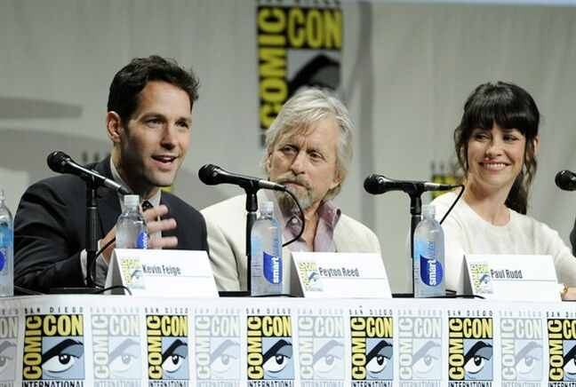 Paul Rudd, left, Michael Douglas, center, and Evangeline Lilly, cast members in the upcoming Marvel film