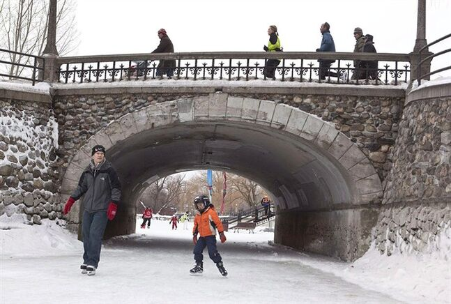 People walk over a bridge as others skate on the Rideau Canal in Ottawa on Sunday, Jan. 17, 2010.The Rideau Canal is a world heritage site but its picturesque waters flow under troubled bridges.A newly released report says eight of the 11 historic bridges over the canal in eastern Ontario are in