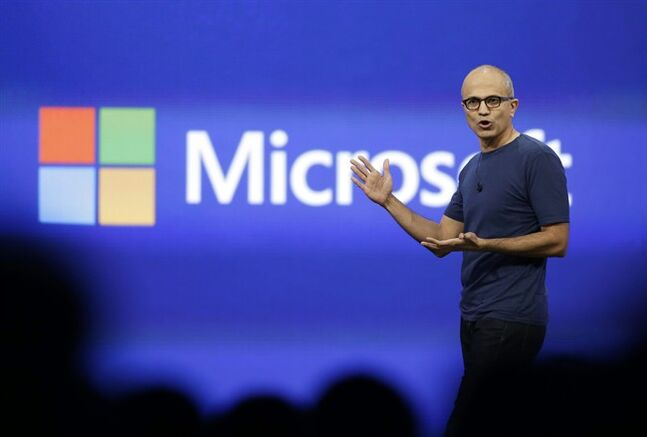 Microsoft CEO Satya Nadella gestures in San Francisco on April 2, 2014. THE CANADIAN PRESS/AP, Eric Risberg