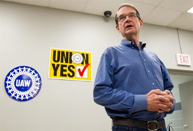 In this Feb. 14, 2014, photo, United Auto Workers President Bob King discusses the union's 712-626 defeat in an election at the Volkswagen plant in Chattanooga, Tenn. The UAW on Friday, Feb. 21, 2014, filed an objection with the National Labor Relations Board seeking to vacate the result and order a new election. (AP Photo/Erik Schelzig)