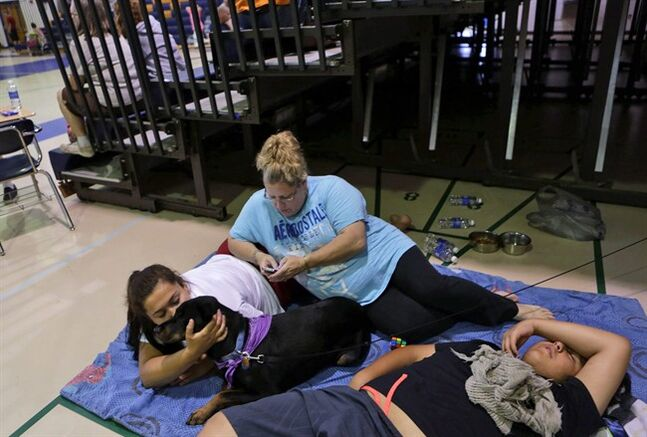Angela Rivera, center, rests with her children Daniella, 17, and Cleme, 14, and their family dog Kia, on Thursday, July 24, 2014, in Northampton High School in Eastville, Va. Rivera and her family were camping at the Cherrystone Family Camping & RV Resort when a strong storm struck. The vacationers were among those evacuated to the high school. A tree fell on a New Jersey couple's tent at Cherrystone, killing them, and their 13-year-old son in a tent next to them suffered life-threatening injuries. About three dozen other people were hurt, with injuries ranging from cuts to broken bones to more serious, Virginia State Police spokeswoman Corinne Geller said. (AP Photo/The Virginian-Pilot, Vicki Cronis-Nohe)