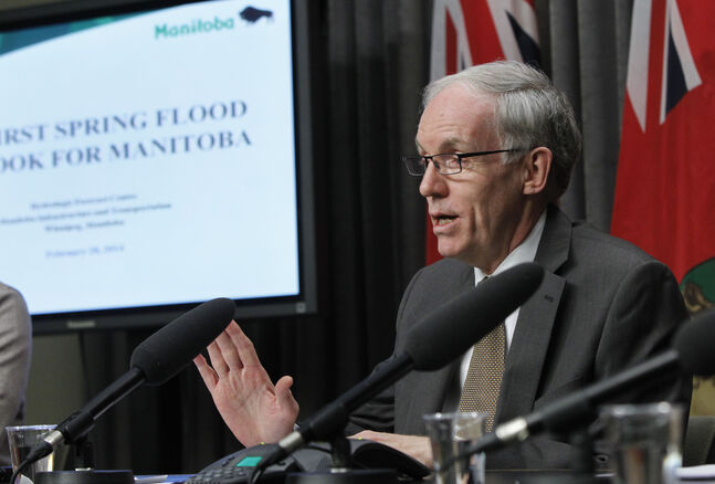 Infrastructure and Transportation Minister Steve Ashton at the first 2014 flood outlook news conference today in the Manitoba Legislative building.