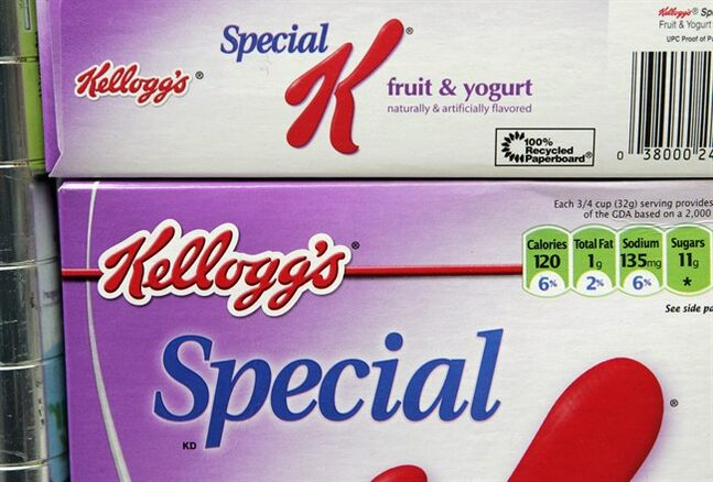 FILE - This Feb. 2, 2009 file photo shows Kellogg's Special K cereals on display at a market in Palo Alto, Calif. Kellogg's cereal sales are struggling, in part because Special K is falling out of fashion with dieters. The company, based in Battle Creek, Michigan, on Thursday, July 31, 2014 said that its profit fell 16 percent in the second quarter as its flagship cereal unit continued to suffer. (AP Photo/Paul Sakuma, File)