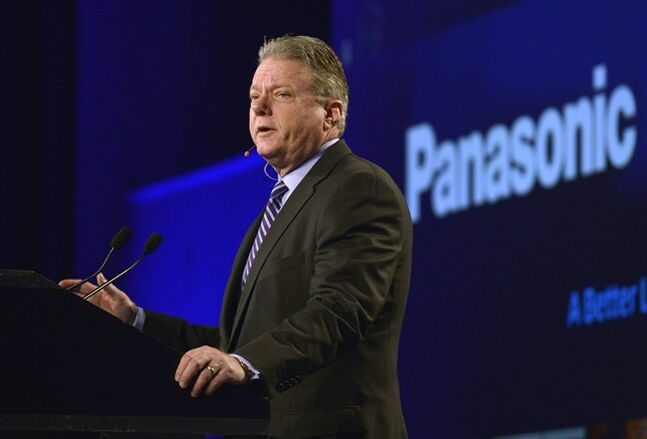 Joseph M. Taylor, chairman and CEO of Panasonic North America, talks to the media during the Panasonic news conference at the 2014 International Consumer Electronics Show Monday, Jan. 6, 2014, in Las Vegas. (AP Photo/Jack Dempsey)