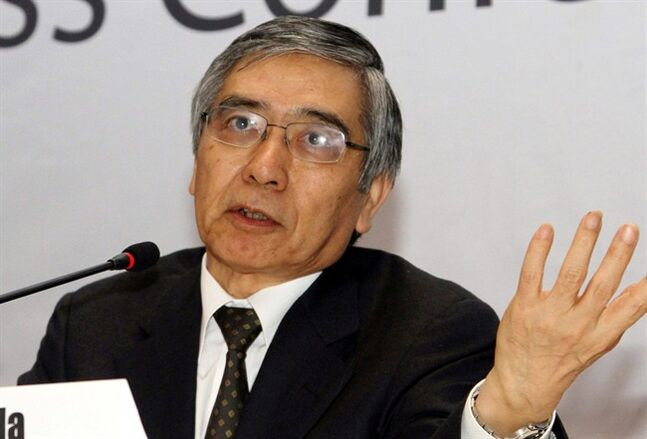 FILE - In this Feb. 8, 2013 file photo, Haruhiko Kuroda, president of Asia Development Bank (ADB), talks to journalists during a press conference in Yangon. The government has nominated Asian Development Bank President Kuroda to head Japan's central bank, counting on his support for more aggressive monetary policy to help the world's third-biggest economy escape recession and deflation. (AP Photo/File)