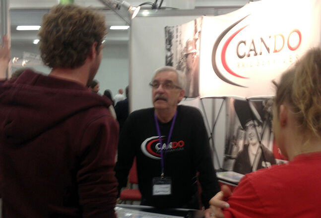 "Officials from Cando Rail Services meet with prospective employees in Dublin, Ireland, during the ""Working Abroad-Canada Expo."" Cando vice-president of contract services Jim Brannan said the company made a number of contracts at the two-day show."