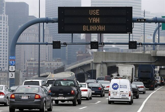 An electronic highway sign is seen on Interstate 93 in Boston, Friday, May 9, 2014. The Massachusetts Department of Transportation posted the message