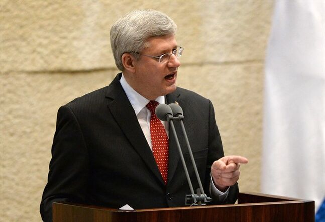 Prime Minister Stephen Harper addresses the Knesset on Monday, January 20, 2014. Harper is visiting Israel, the West Bank, and Jordan. THE CANADIAN PRESS/Sean Kilpatrick