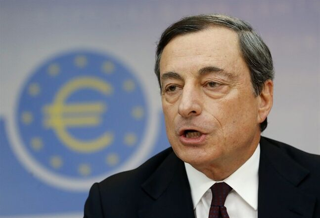 President of European Central Bank Mario Draghi talks during a news conference in Frankfurt, Germany, Thursday, July 3, 2014, following a meeting of the ECB governing council. The ECB decided to leave its main interest rate unchanged.(AP Photo/Michael Probst)