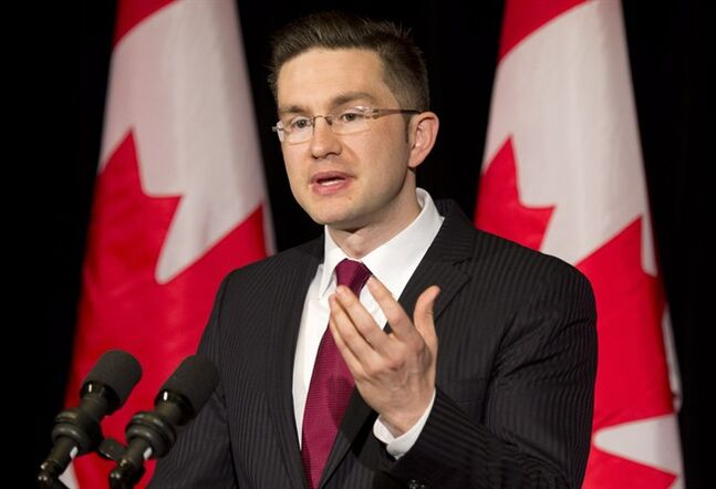 Minister of State (Democratic Reform) Pierre Poilievre speaks with the media about the Supreme Court decision on the Senate and the Fair Elections Act during a news conference in Ottawa on April 25, 2014.