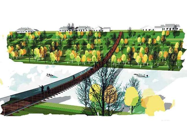 An artist's rendering shows the design of the new Souris Swinging Bridge. Construction on the bridge should begin sometime this week.