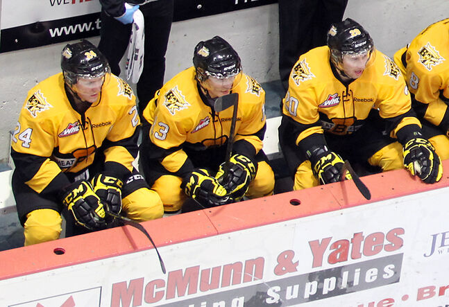 From left to right, forwards Jens Meilleur, Rihards Bukarts and Chad Robinson have formed a productive line for the Brandon Wheat Kings.
