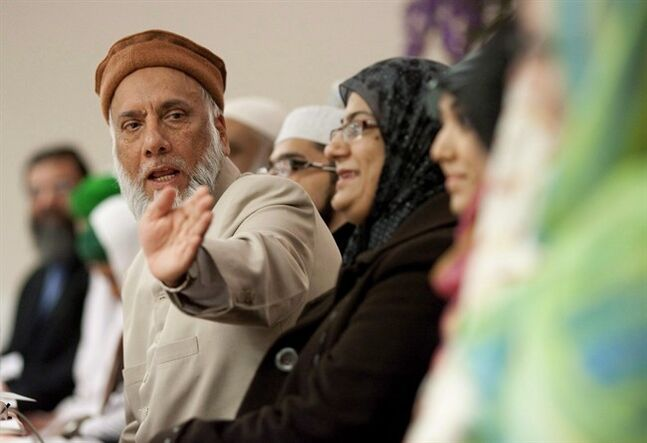 Professor Imam Syed B. Soharwardy, left, speaks at the Jamia Riyadhul Jannah place of worship in Mississauga, Ont., on February 4 , 2012. A prominent Calgary imam worries that the reported death of a Canadian in Iraq could inspire other radicalized youth to follow his example. Imam Syed Soharwardy of the Islamic Supreme Council of Canada, is worried that the death of one youth who has been