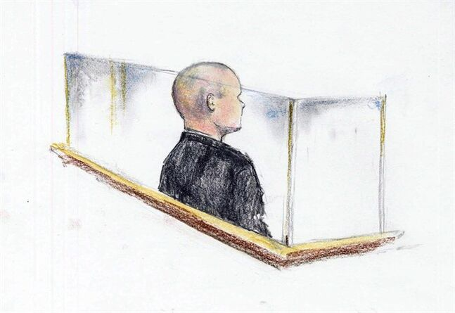 A sketch of Cody Legebokoff in court in Prince George, B.C. on Wednesday June 4, 2014. THE CANADIAN PRESS/Corey Hardeman