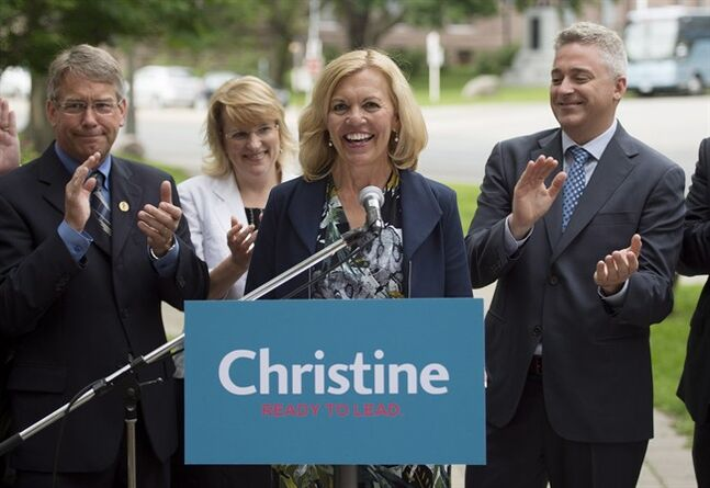 Christine Elliott, widow of former federal Finance Minister Jim Flaherty, announces her intention to run for the Ontario PC leadership during a press conference in Toronto on Wednesday, June 25, 2014. THE CANADIAN PRESS/Darren Calabrese