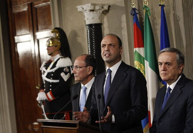 Nuovo Centrodestra (New Centre-Right) party' s leader Angelino Alfano, center, flanked by senators Maurizio Sacconi, right, and Renato Schifani, talks to journalists after talks with Italian President Giorgio Napolitano, at the Quirinale presidential palace, in Rome, Saturday, Feb. 15, 2014. Napolitano is consulting with political party leaders to determine if Democratic Party leader Matteo Renzi has enough support to form a new government. Renzi, 39, accelerated his path to the premier's post this week by engineering Enrico Letta's resignation within the party.(AP Photo/Riccardo De Luca)