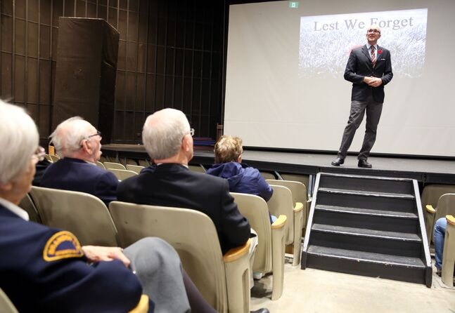 Brandon filmmaker and historian Graham Street introduces his latest documentary on the Westman-based XII Manitoba Dragoons at Brandon University's Evans Theatre on Friday.