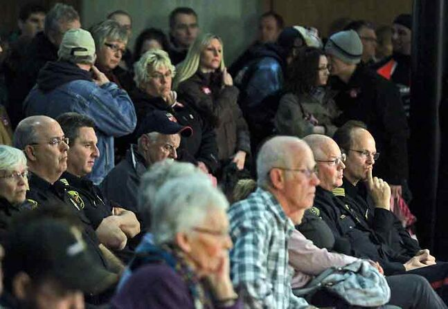 In this February photo, a crowd listens to proceedings during a public forum on the city's proposed budget at Brandon City Hall.