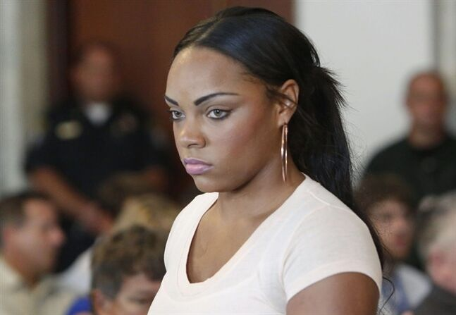 FILE - In this July 24, 2013, file photo, Shayanna Jenkins, fiancee of former New England Patriots NFL football player Aaron Hernandez, arrives at hearing for Hernandez at Attleboro District Courtroom in Attleboro, Mass. Prosecutors said in a filing Wednesday, July 16, 2014, that they have