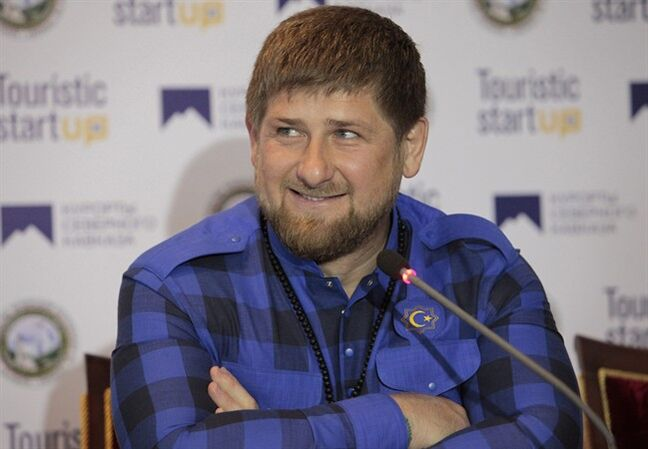 FILE- In this Saturday, April 12, 2014 file photo Chechen regional leader Ramzan Kadyrov speaks at a news conference in Chechnya's provincial capital Grozny, Russia. As the fighting increases in eastern Ukraine, Chechnya's Moscow-backed leader Kadyrov insisted Wednesday May 28, 2014, he had not sent any of his troops to help pro-Russia insurgents, but said some Chechens may have gone there on their own. (AP Photo/Musa Sadulayev, FILE)