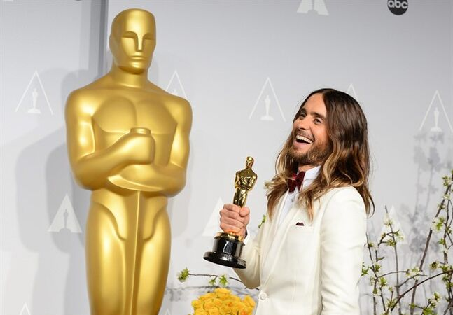 FILE - In this March 2, 2014 file photo, Jared Leto poses in the press room with the award for best actor in a supporting role for